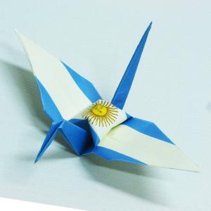 【ポスト便OK】 アルゼンチンの国旗をデザインしたおりづる折り紙です。 計50枚入り。 わかりやすく...