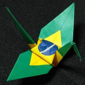 【ポスト便OK】 ブラジルの国旗をデザインしたおりづる折り紙です。 計50枚入り。 わかりやすくイラ...