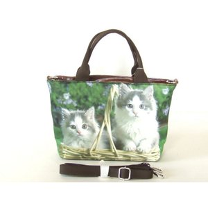 【sale】可愛い小猫2匹転写2way手提げバッグ|yumenoren