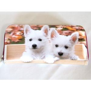【sale】愛犬家におすすめ!小犬2匹転写ラウンドタイプ長財布【メール便無料】|yumenoren