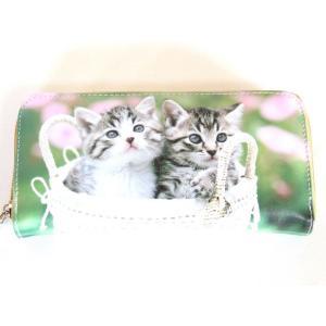 小猫2匹転写ラウンドタイプ長財布|yumenoren