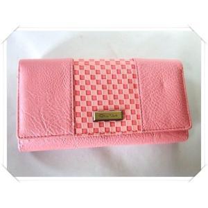【訳あり】落ち着いた色合いのサーモンピンクのレディース格子柄長財布|yumenoren