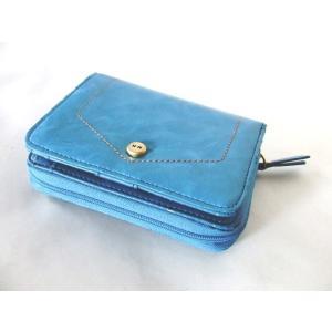 【訳あり】カードポケット16箇所付き爽やかな色合いのターコイズブルーのレディース二つ折り財布|yumenoren