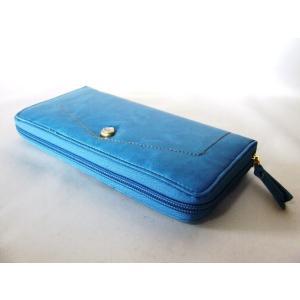 【訳あり】カードポケット20箇所付き爽やかな色合いのターコイズブルーのラウンドタイプレディース長財布|yumenoren