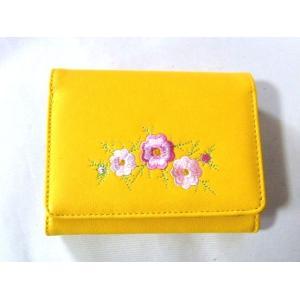 【訳あり】花刺繍レディース合成皮革二つ折り財布(2色有)|yumenoren