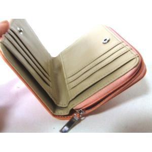 【訳あり】花刺繍レディース合成皮革ラウンドファスナー二つ折り財布/サーモンピンク yumenoren 05