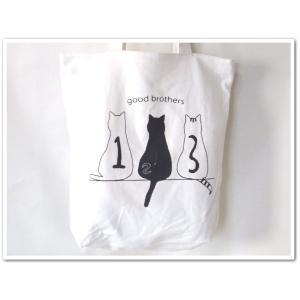 レディース&女の子向け猫イラスト天ファスナー帆布キャンバストートバッグ/兄弟【メール便無料】|yumenoren