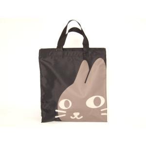 猫顔プリントトートバッグA4黒【メール便無料】|yumenoren