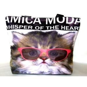 【sale】レディース向けおしゃれでかわいい小猫顔転写プリントトートバッグ|yumenoren