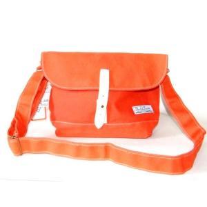 小振りサイズのシンプルな帆布ショルダーバッグ/オレンジ|yumenoren