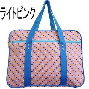 【sale】おしゃれなマルチドット女の子キッズ向けマチ付き大きめナイロンレッスントートバッグ/ピンク|yumenoren