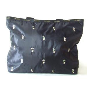 傘収納ポケット付き軽量猫刺繍トートバッグ黒|yumenoren