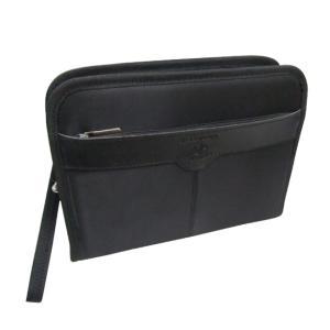 がばっと大きく開くツイルナイロンセカンドバッグ黒|yumenoren