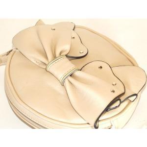 【sale】リボン飾り付き合皮ポシェット丸型 yumenoren 03