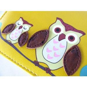 縁起の良い親子ふくろうイラスト二つ折り財布セパレートタイプ(4色有) yumenoren 11