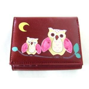 縁起の良い親子ふくろうイラスト二つ折り財布セパレートタイプ(4色有) yumenoren 04