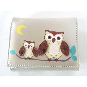 縁起の良い親子ふくろうイラスト二つ折り財布セパレートタイプ(4色有) yumenoren 05