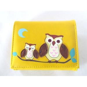 縁起の良い親子ふくろうイラスト二つ折り財布セパレートタイプ(4色有) yumenoren 06