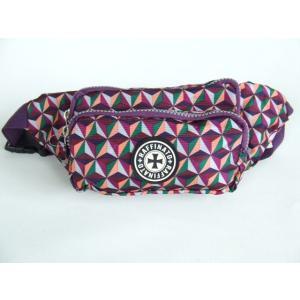 幾何学模様小振りサイズのウエストバッグ紫【メール便無料】|yumenoren