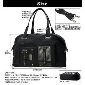 機能ポケット付きカッコイイ2wayボストンバッグ黒 yumenoren 02