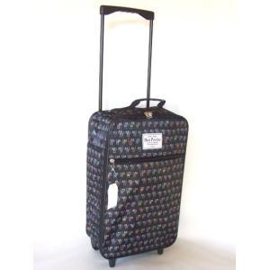 カラフルな猫イラストの折畳収納可能キャリーバッグ黒|yumenoren