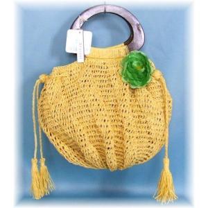 天然素材コサージュ付きニットバッグ(2色有)|yumenoren