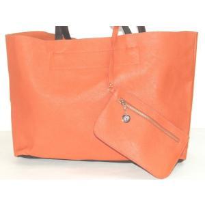 【sale】RANAポーチ付き軽量シンプルトートバッグ/オレンジ|yumenoren
