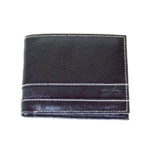 ステッチ&2枚重ね牛革二つ折り財布メンズ(2色有)|yumenoren