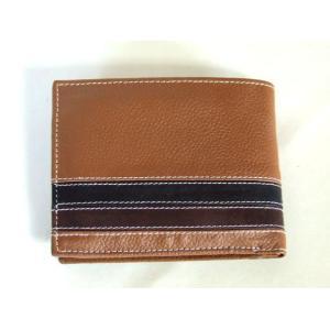 2本ライン牛革二つ折り財布メンズ(3色有)|yumenoren