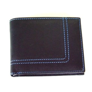 カラーステッチラインやぎ革二つ折り財布メンズ(2色有)|yumenoren