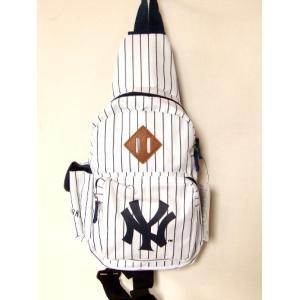 ニューヨークヤンキースピンストライプボディバッグ白|yumenoren