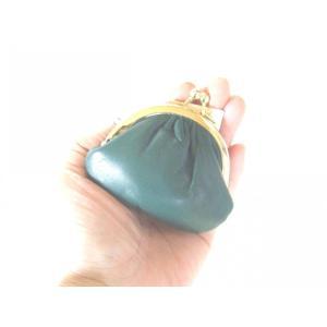 牛革がま口財布・小物入れ丸型(緑)|yumenoren