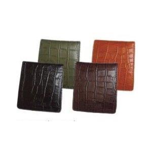クロコ型押し本牛革二つ折り財布BOX(4色有)|yumenoren