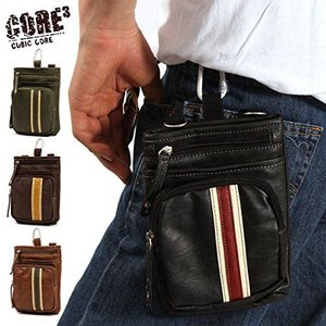 【sale】メンズCORE合成皮革おしゃれなラインデザイン3wayシザーバッグ(4色有)【メール便無料】|yumenoren