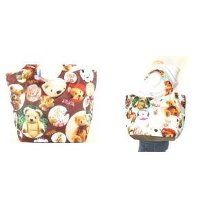 熊のぬいぐるみプリントエコトートバッグ(2色有)|yumenoren