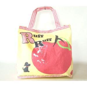 【sale】大きなりんごと小犬プリントのおしゃれでかわいいレディースキャンバストートバッグ【メール便ok】|yumenoren
