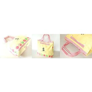【sale】大きなりんごと小犬プリントのおしゃれでかわいいレディースキャンバストートバッグ【メール便ok】|yumenoren|02