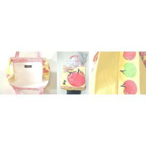 【sale】大きなりんごと小犬プリントのおしゃれでかわいいレディースキャンバストートバッグ【メール便ok】|yumenoren|03