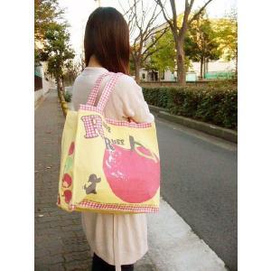【sale】大きなりんごと小犬プリントのおしゃれでかわいいレディースキャンバストートバッグ【メール便ok】|yumenoren|04