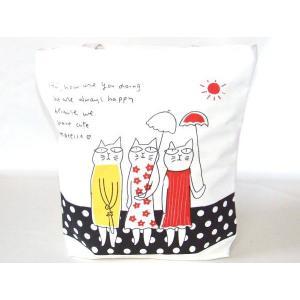 【訳あり】ほのぼのキャットイラストトートバッグ|yumenoren