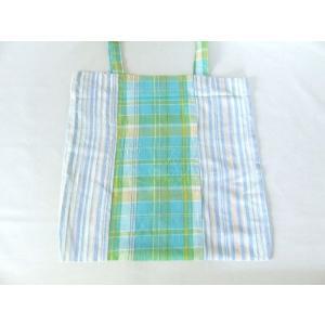 インド綿ストライプ&チェックトートバッグ(緑)|yumenoren
