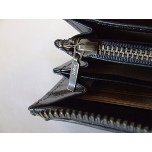 【sale】ポニー本革メンズ&レディース大容量メッシュ長財布/黒【取寄商品】|yumenoren|07