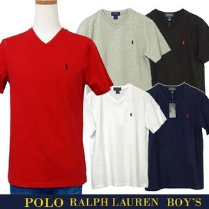 ラルフローレン Tシャツ 半袖 メンズ レディース Vネック ワンポイント刺繍 綿100% POLO Ralph Lauren Boy's 323674983|yumesse