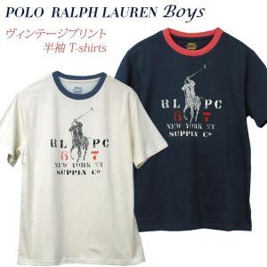ラルフローレン Tシャツ 半袖 メンズ レディース ビッグポニー リンガーTシャツ ビンテージプリント 2019年春の新作 POLO by Ralph Lauren Boy's|yumesse