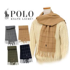 ラルフローレン マフラー 2018年新作 ウインドウペイン柄 リバーシブル イタリア製 メンズ レディース プレゼント POLO Ralph Lauren #pc0230 yumesse