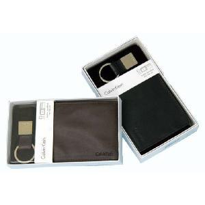 カルバンクライン 財布 キーホルダー 2点セット ギフトセットB(表面しわ加工無し財布) 二つ折り パスケース  純正ボックス付 メンズ レディース|yumesse