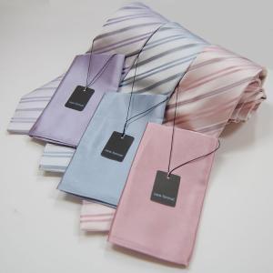 ネクタイ チーフ付きネクタイ ピンク・ブルー・パープル・ブラウンストライプ柄(1本のみネコポス可能)|yumesse