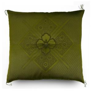 座布団 59×63cm 八端判 ふくれ織 法事 高級 手づくり ハイウェイ柄 日本製 緑色 ざぶとん 八端判座布団|yumesse