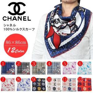 シャネル スカーフ シルク100% 縦86×横86cm CHANEL CHANEL-SCARF|yumesse