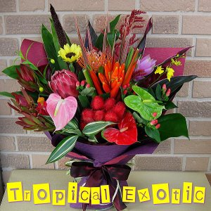 翌日配達フラワーギフト エキゾティックでトロピカルな花束でサプライズ|yummy
